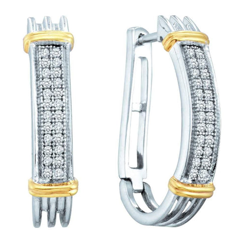 Two-tone Sterling Silver Womens Round Diamond Oblong Hoop Earrings 1/6 Cttw