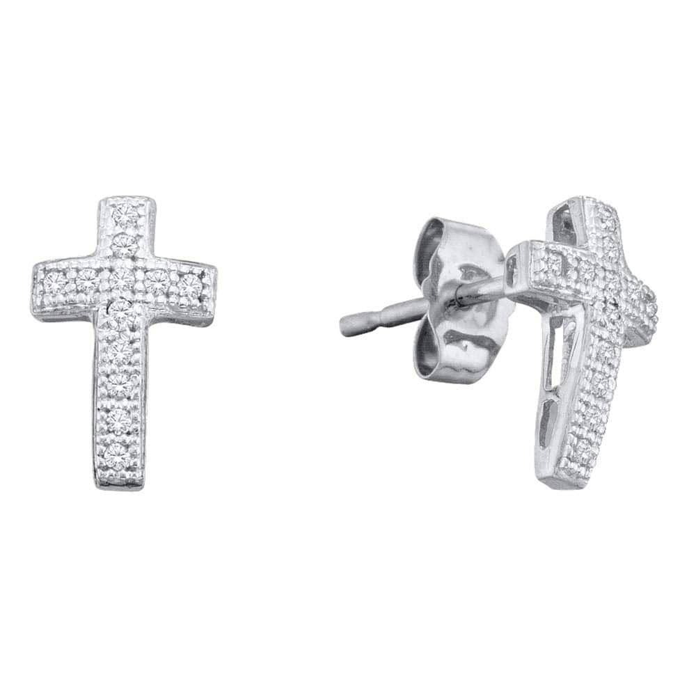 Sterling Silver Womens Round Diamond Cross Faith Stud Earrings 1/10 Cttw