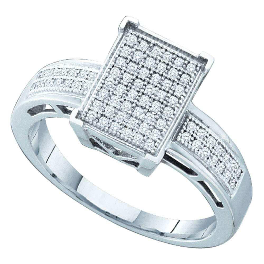 Sterling Silver Womens Round Diamond Rectangle Cluster Ring 1/5 Cttw