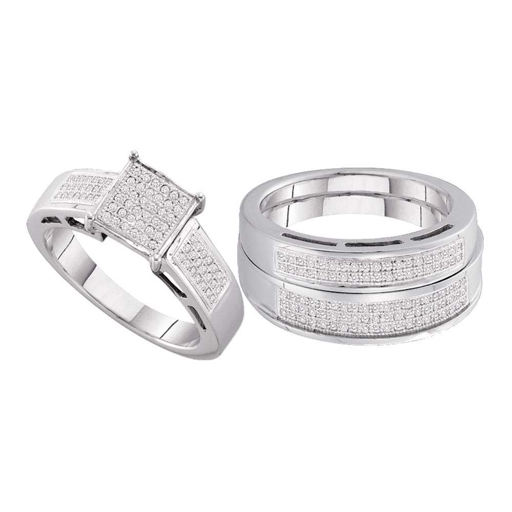 Sterling Silver His & Hers Round Diamond Cluster Matching Bridal Wedding Ring Band Set 5/8 Cttw