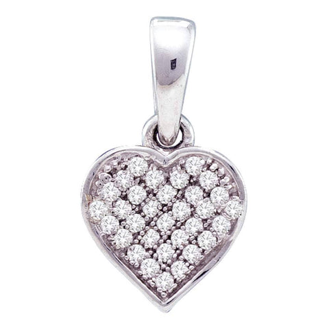 Sterling Silver Womens Round Diamond Small Heart Cluster Pendant 1/10 Cttw