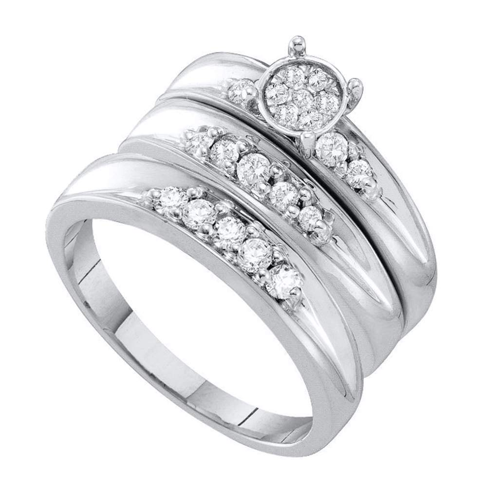 10kt White Gold His & Hers Round Diamond Cluster Matching Bridal Wedding Ring Band Set 3/8 Cttw