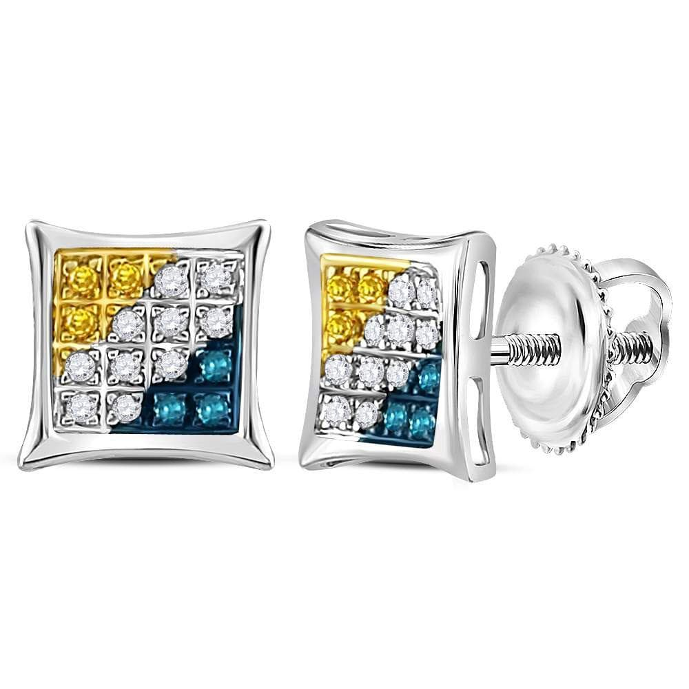 Sterling Silver Womens Round Yellow Blue Color Enhanced Diamond Square Kite Stud Earrings 1/10 Cttw