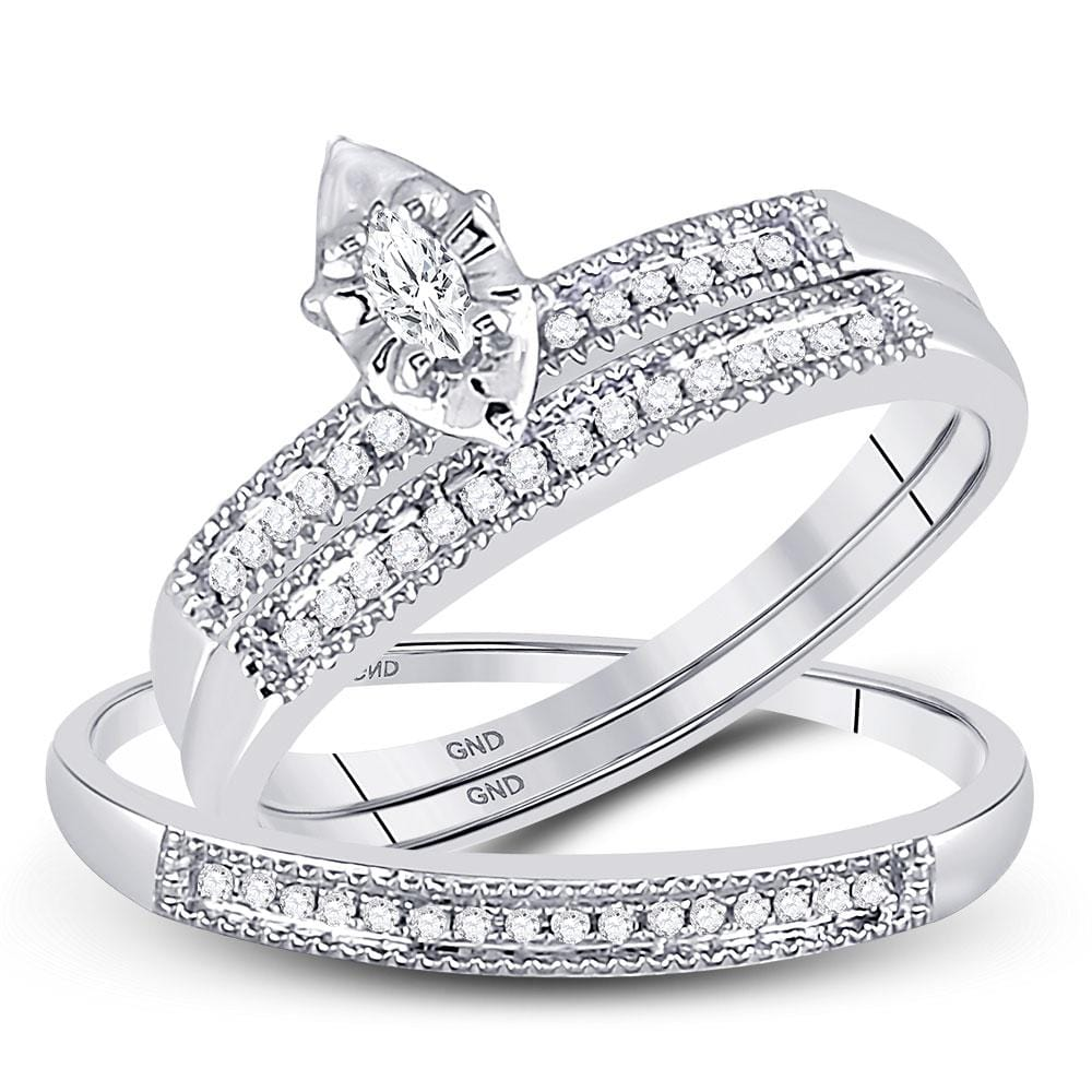 10kt White Gold His & Hers Marquise Diamond Marquise Matching Bridal Wedding Ring Band Set 1/5 Cttw