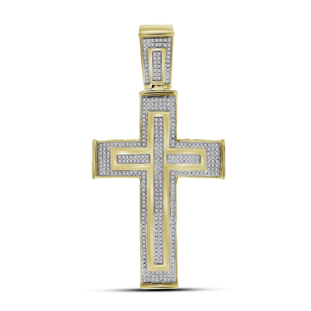 10kt Yellow Gold Mens Round Diamond Cross Crucifix Charm Pendant 7/8 Cttw