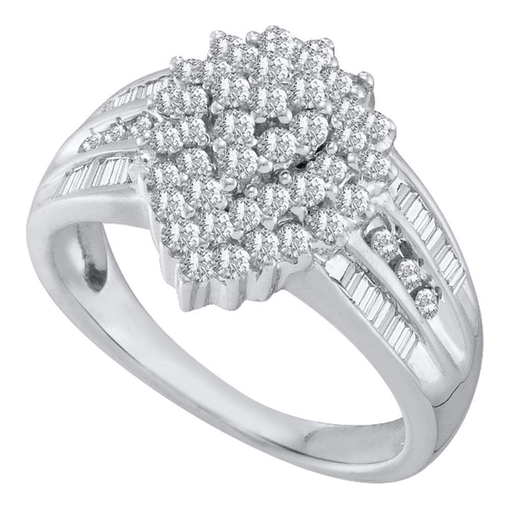 10kt White Gold Womens Round Diamond Oval Cluster Baguette Accent Ring 1.00 Cttw