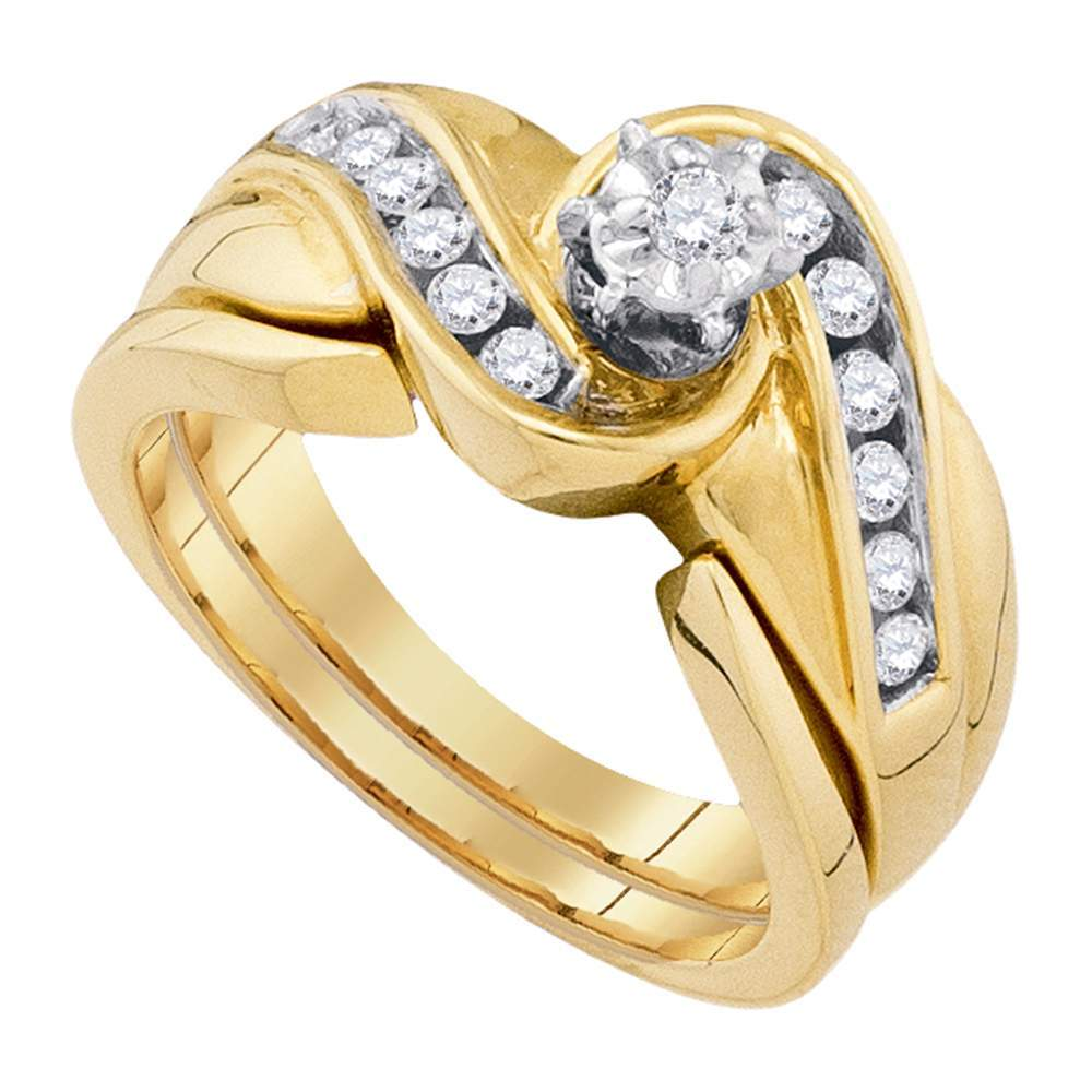 14kt Yellow Gold Womens Round Diamond Bridal Wedding Engagement Ring Band Set 1/3 Cttw