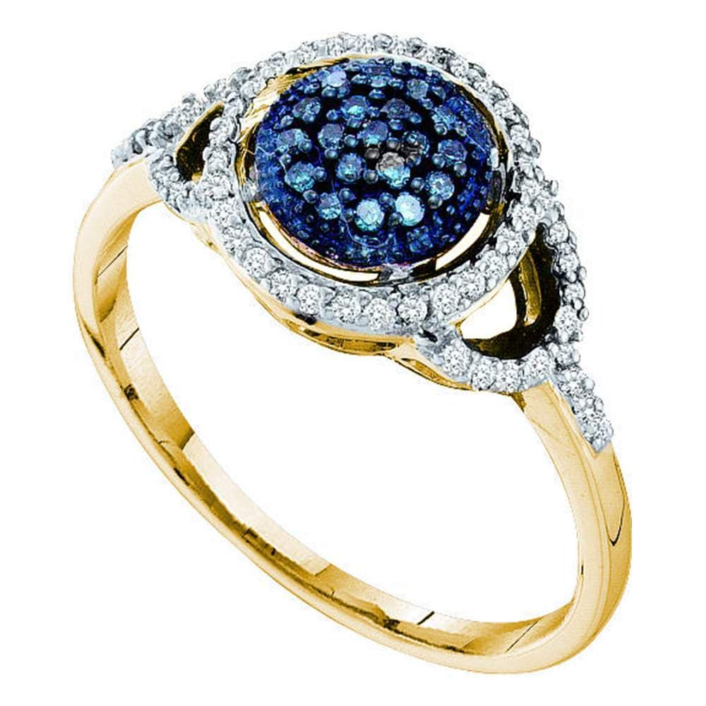 10kt Yellow Gold Womens Round Blue Color Enhanced Diamond Framed Cluster Ring 1/4 Cttw