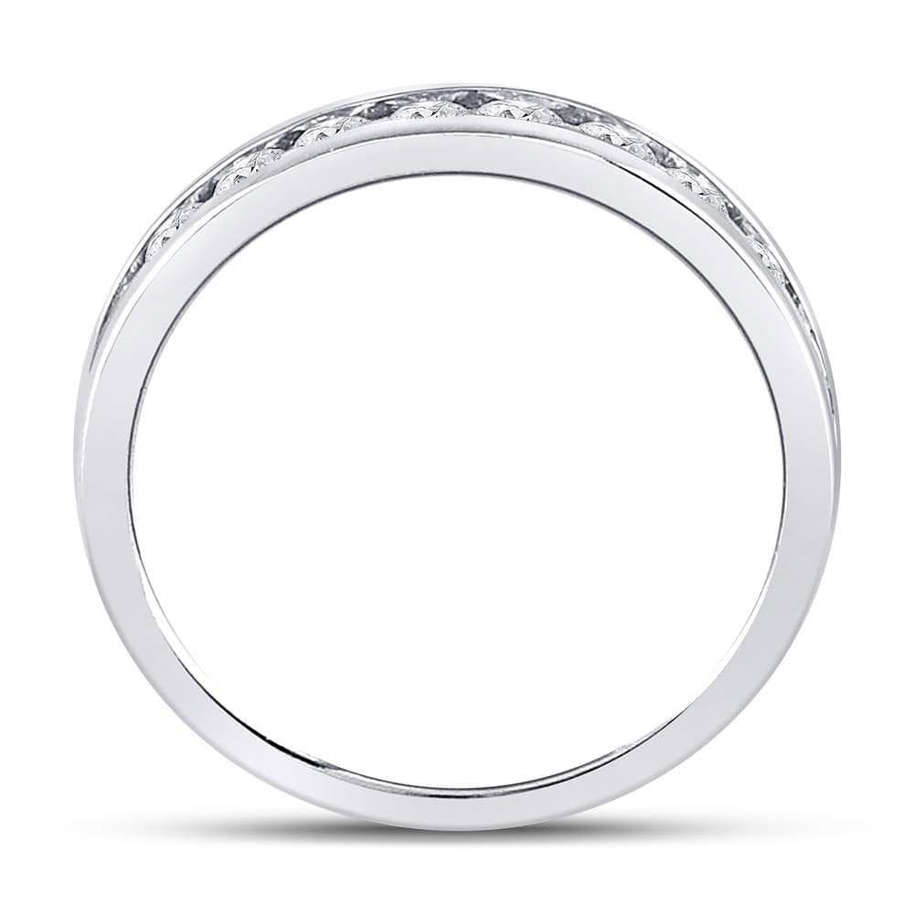 14kt White Gold Mens Round Diamond Single Row Comfort Wedding Band Ring 1.00 Cttw