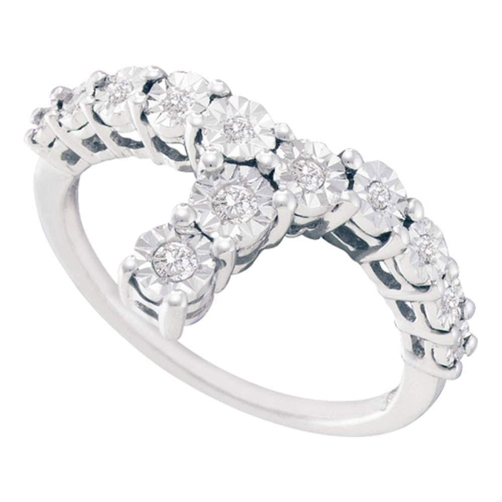 Sterling Silver Womens Round Diamond Fashion Ring 1/8 Cttw