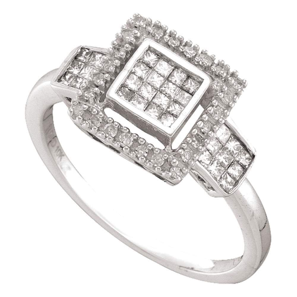 10kt White Gold Womens Princess Diamond Cluster Ring 1/3 Cttw