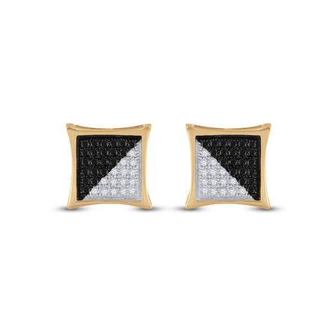 10kt Yellow Gold Mens Round Black Color Enhanced Diamond Square Kite Cluster Earrings 1/4 Cttw