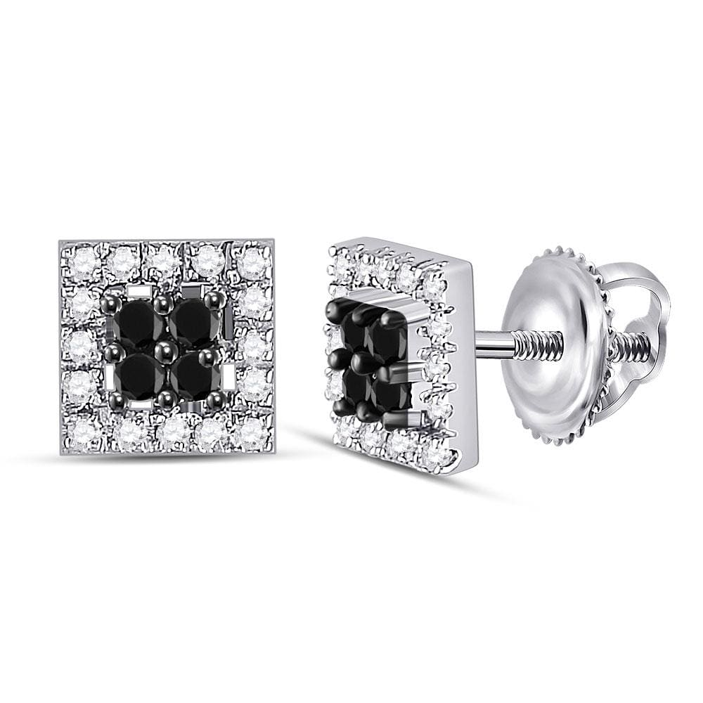 10kt White Gold Womens Round Black Color Enhanced Diamond Square Cluster Screwback Earrings 1/4 Cttw
