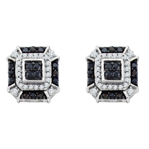 10kt White Gold Womens Round Black Color Enhanced Diamond Square Geometric Cluster Earrings 1/2 Cttw