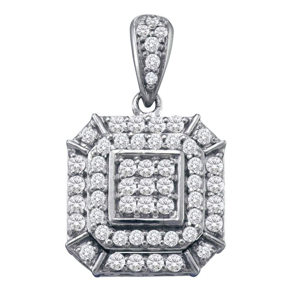 10kt White Gold Womens Round Diamond Square Cluster Pendant 1/2 Cttw
