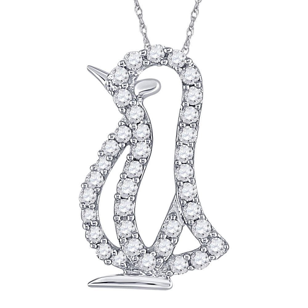 10kt White Gold Womens Round Diamond Penguin Bird Animal Pendant 1/6 Cttw