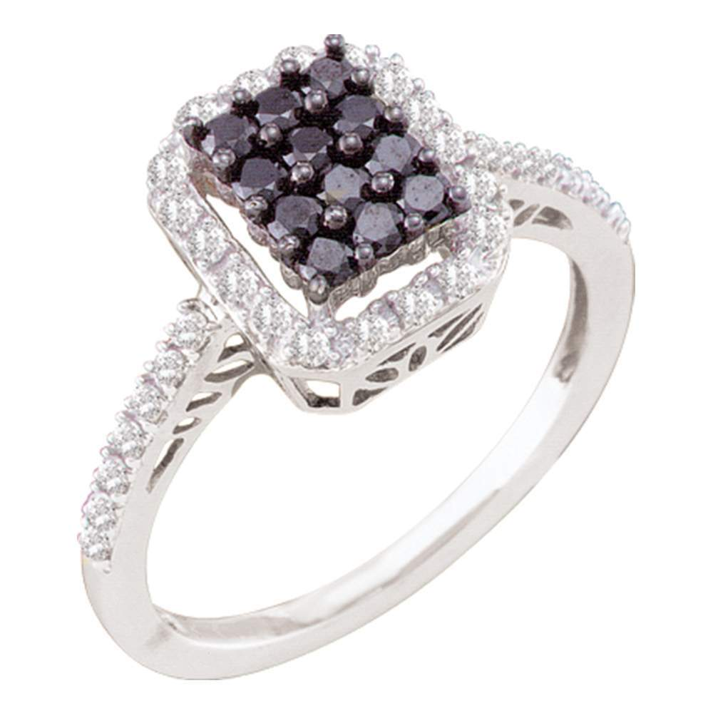 10kt White Gold Womens Round Black Color Enhanced Diamond Rectangle Cluster Ring 1/2 Cttw