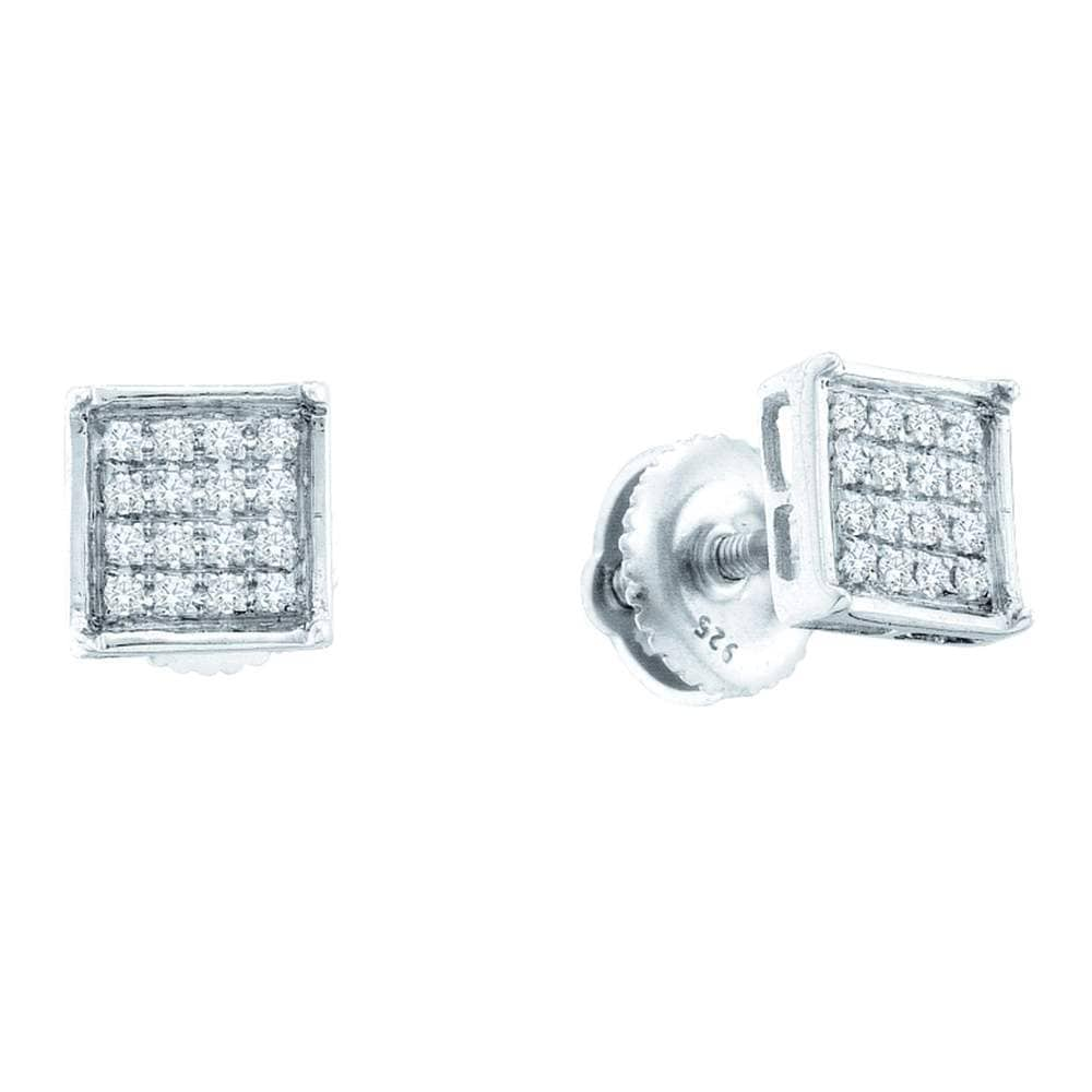 Sterling Silver Womens Round Pave-set Diamond Square Cluster Earrings 1/3 Cttw