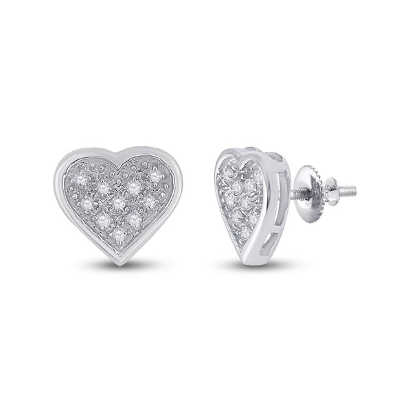 Sterling Silver Womens Round Diamond Heart Cluster Stud Earrings 1/20 Cttw