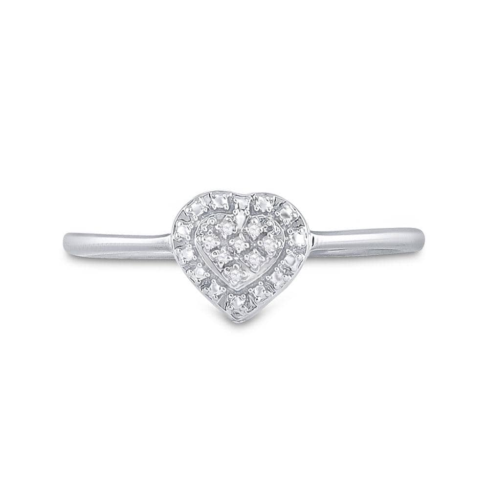 Sterling Silver Womens Round Diamond Simple Heart Cluster Ring .03 Cttw