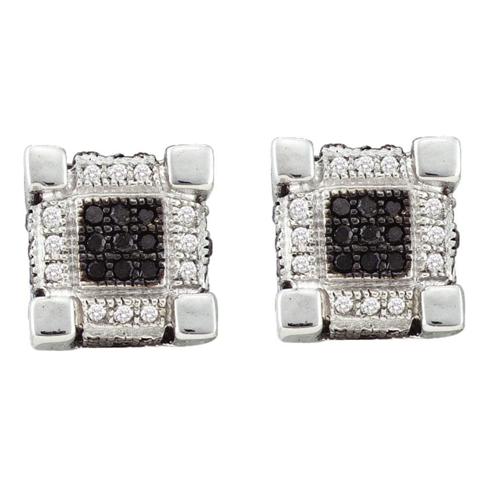 10kt White Gold Mens Round Black Color Enhanced Diamond 3D Cube Square Earrings 1/3 Cttw