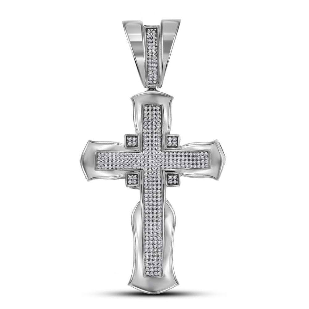 10kt White Gold Mens Round Diamond Flared Cross Crucifix Charm Pendant 1 Cttw