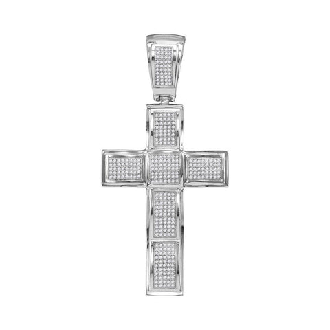 10kt White Gold Mens Round Diamond Roman Cross Charm Pendant 1-1/12 Cttw