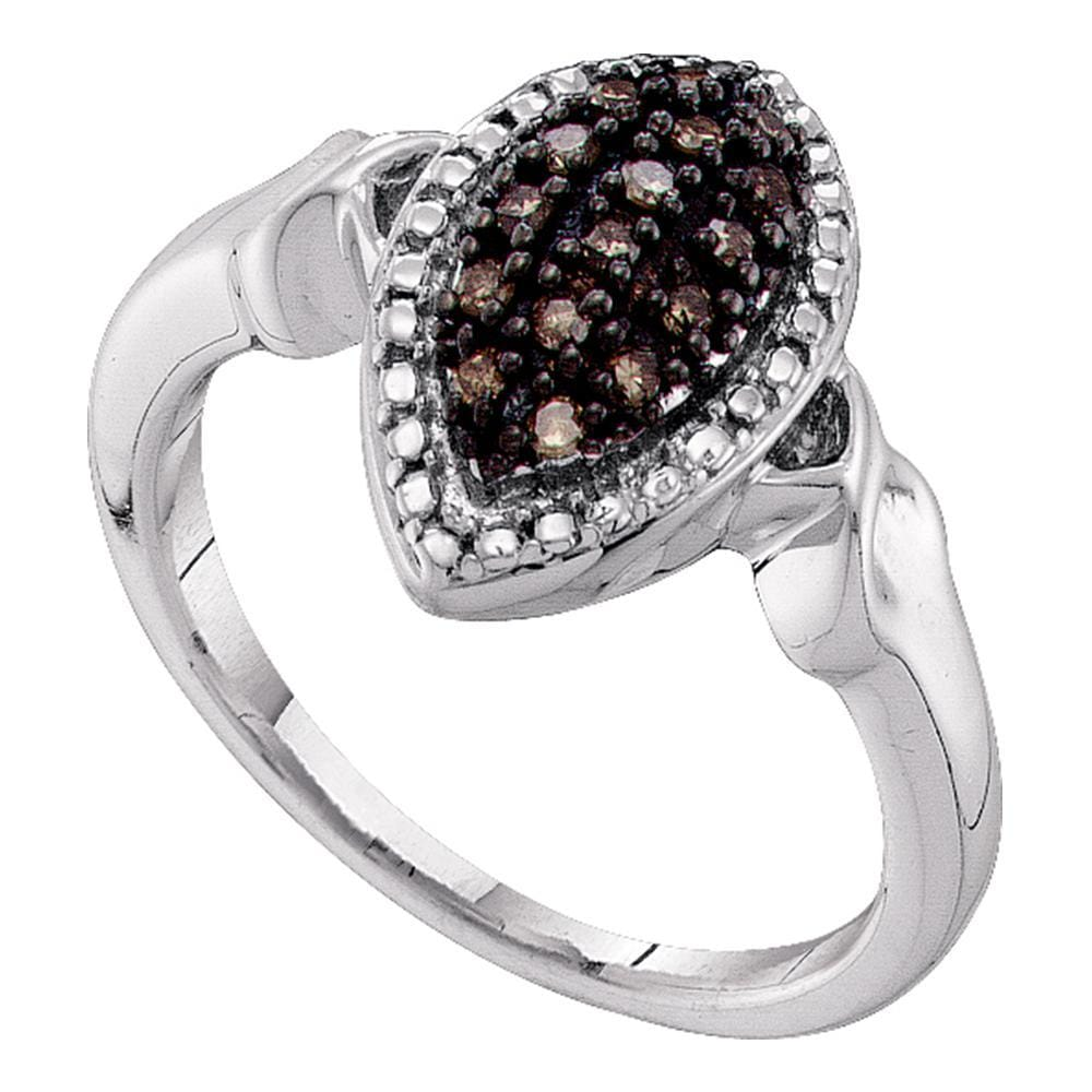 10kt White Gold Womens Round Cognac-brown Color Enhanced Diamond Cluster Ring 1/5 Cttw