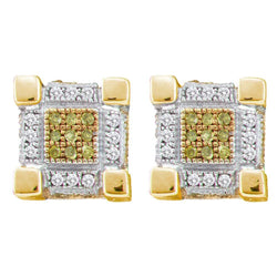 10kt Yellow Gold Mens Round Yellow Color Enhanced Diamond 3D Cube Stud Earrings 1/4 Cttw