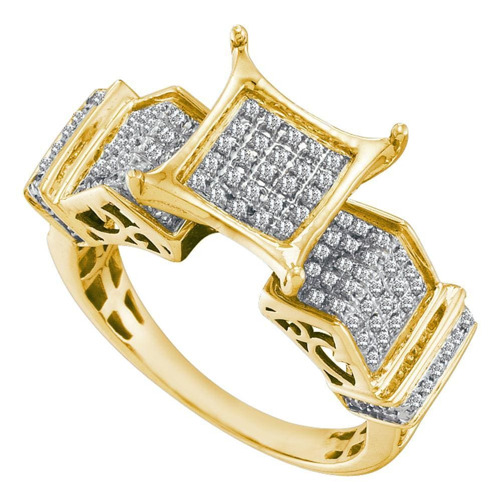 10kt Yellow Gold Womens Round Pave-set Diamond Elevated Square Cluster Ring 3/8 Cttw