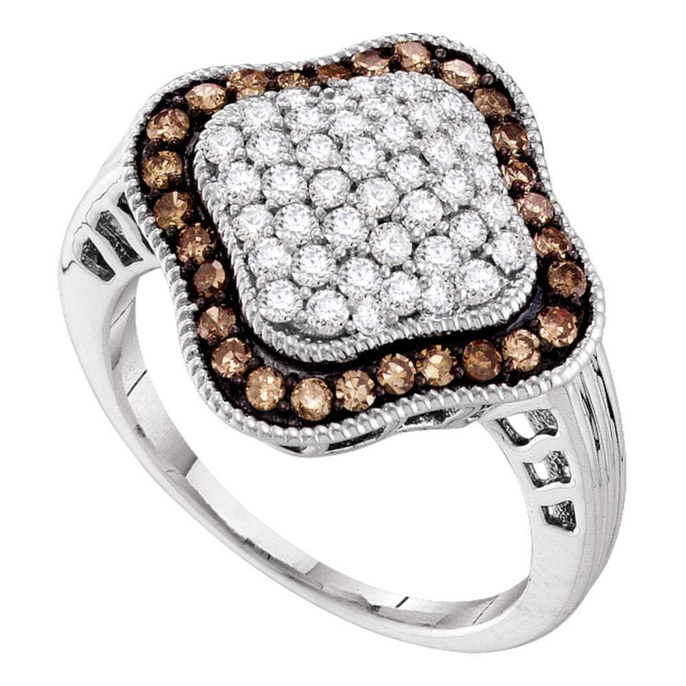 10kt White Gold Womens Round Cognac-brown Color Enhanced Diamond Quatrefoil Cluster Ring 1.00 Cttw