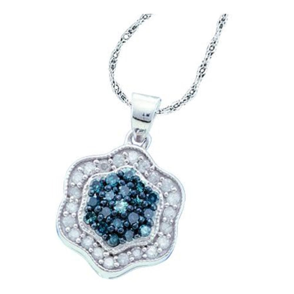 10kt White Gold Womens Round Blue Color Enhanced Diamond Hexagon Cluster Pendant 1/2 Cttw