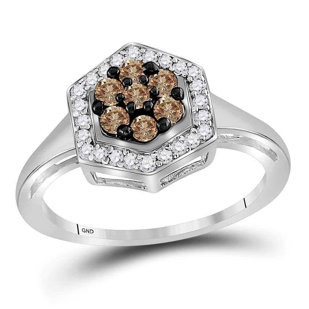 10kt White Gold Womens Round Brown Diamond Polygon Cluster Ring 1/2 Cttw