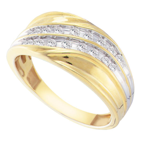10kt Yellow Gold Mens Round Channel-set Diamond Diagonal Double Row Wedding Band 1/3 Cttw
