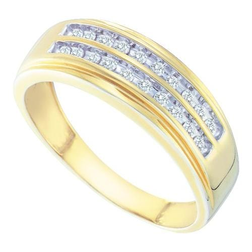 10kt Yellow Gold Mens Round Diamond 2-row Wedding Anniversary Band Ring 1/4 Cttw