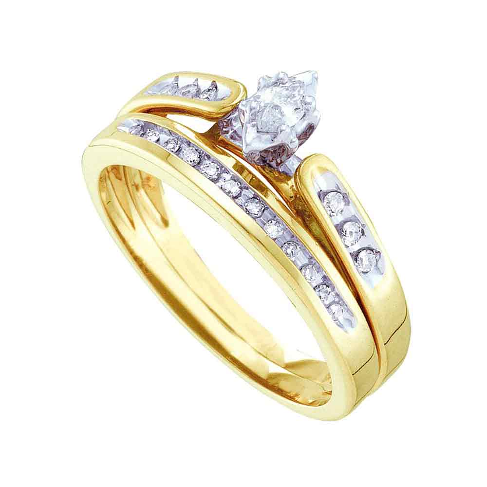 10kt Yellow Gold Womens Marquise Diamond Bridal Wedding Engagement Ring Band Set 1/5 Cttw