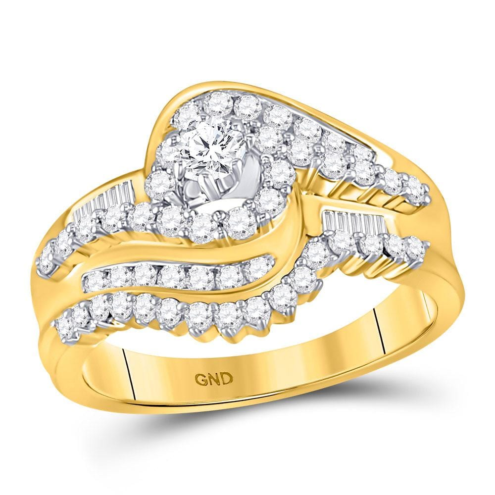 10kt Yellow Gold Round Diamond Bridal Wedding Ring Band Set 3/4 Cttw