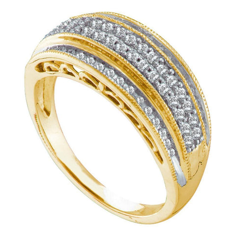 10kt Yellow Gold Womens Round Diamond Domed Band Ring 3/8 Cttw