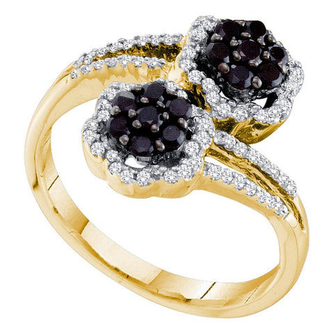 14kt Yellow Gold Womens Round Black Color Enhanced Diamond Flower Cluster Bypass Ring 1/2 Cttw