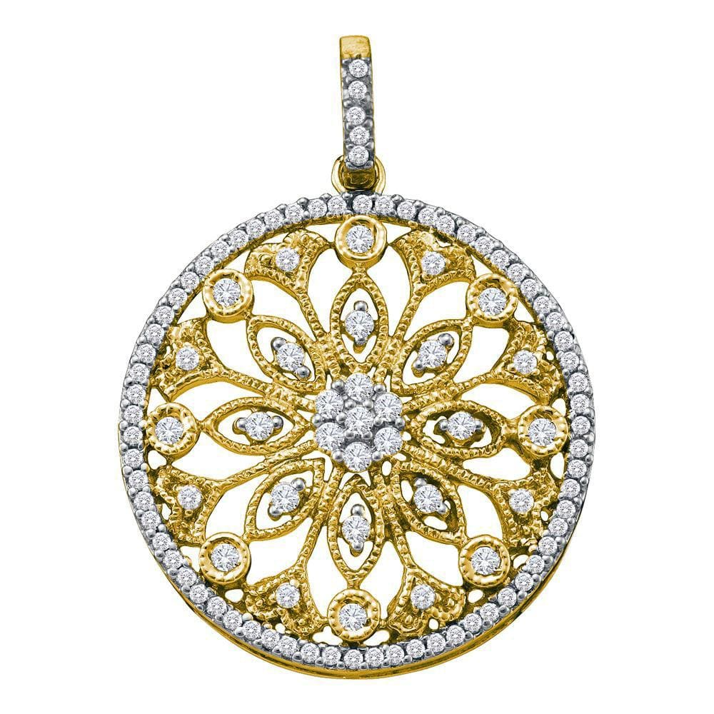 10kt Yellow Gold Womens Round Diamond Antique-style Circle Pendant 1/2 Cttw