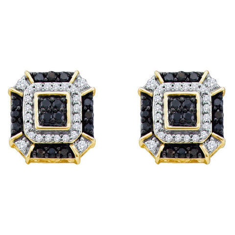 10kt Yellow Gold Womens Round Black Color Enhanced Diamond Square Geometric Cluster Earrings 1/2 Cttw