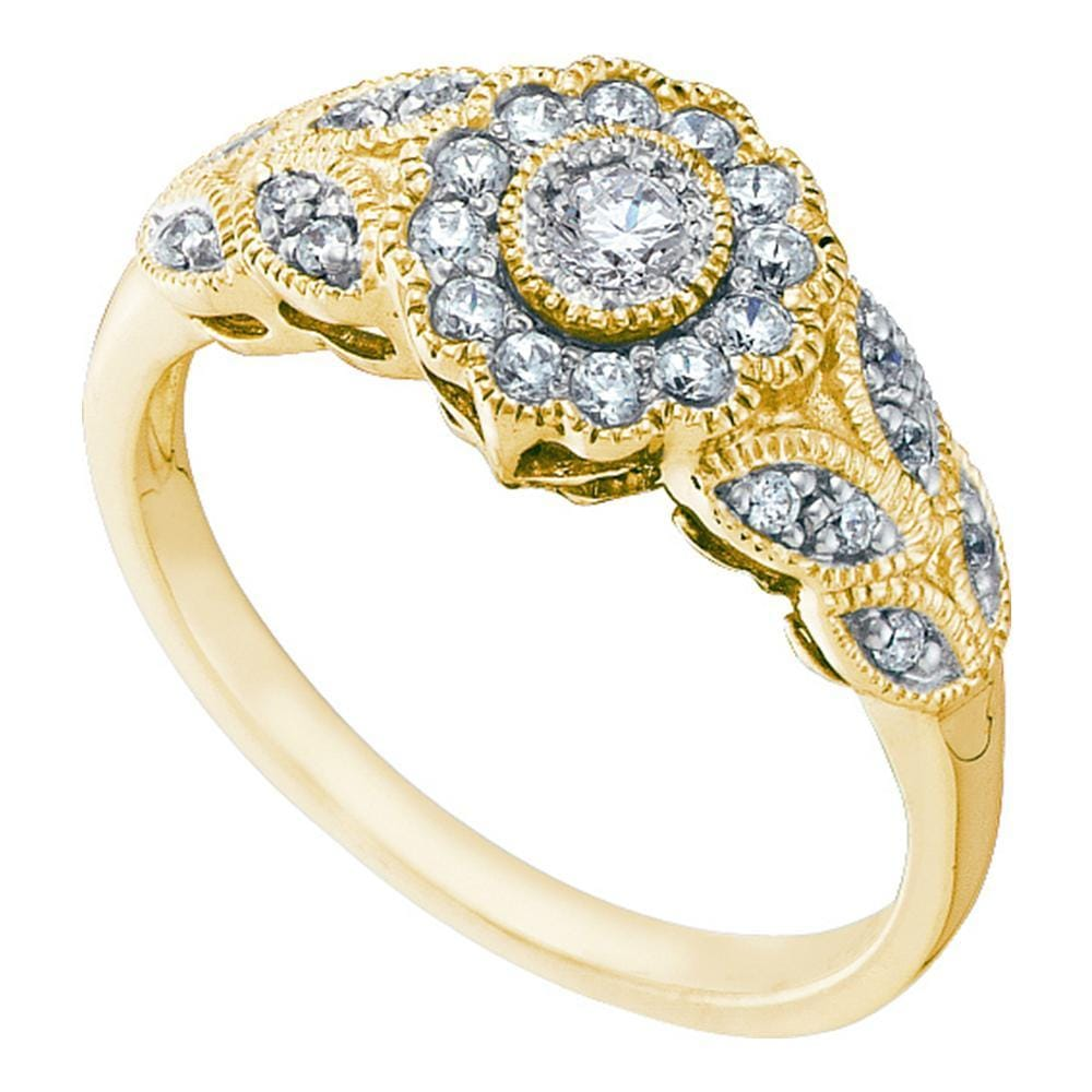 10kt Yellow Gold Womens Round Diamond Solitaire Floral Cluster Milgrain Ring 1/3 Cttw