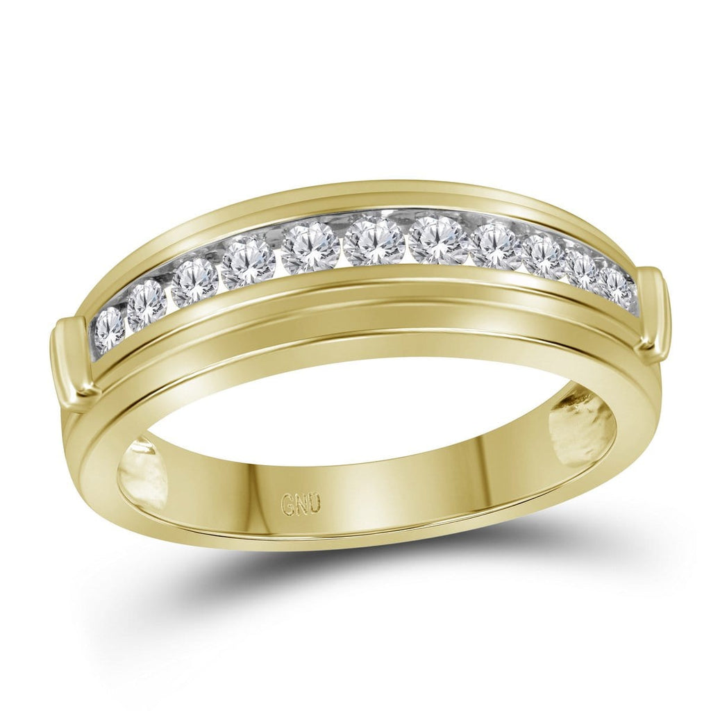 10kt Yellow Two-tone Gold Mens Round Channel-set Diamond Single Row Wedding Band 1/2 Cttw