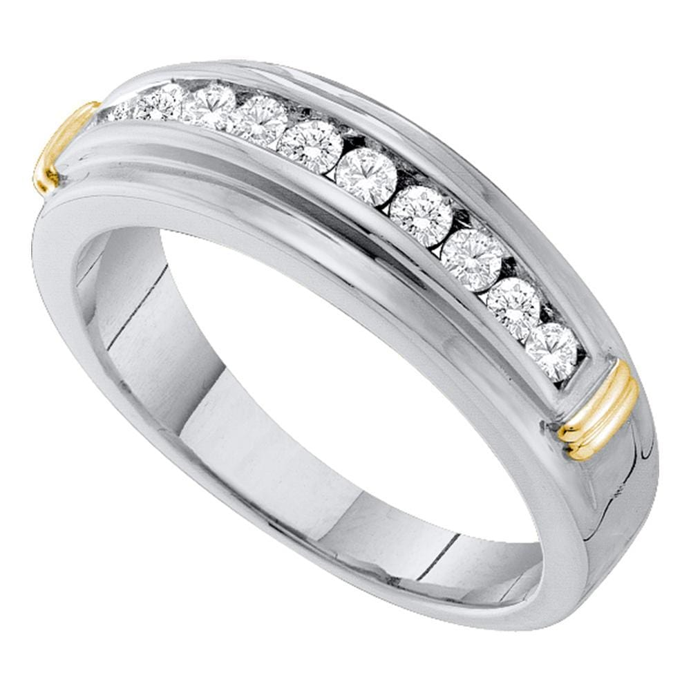 10kt White Two-tone Gold Mens Round Channel-set Diamond Single Row Wedding Band 1/2 Cttw