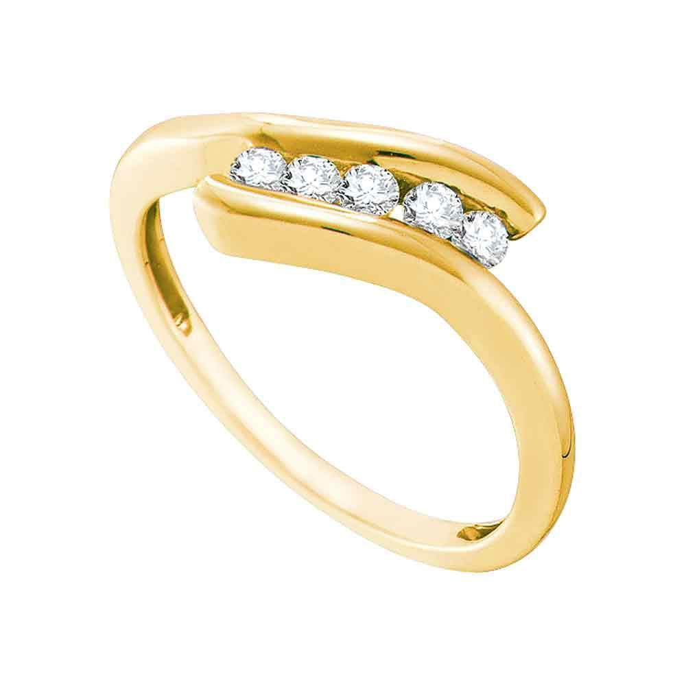 10kt Yellow Gold Womens Round Diamond 5-stone Promise Ring 1/5 Cttw