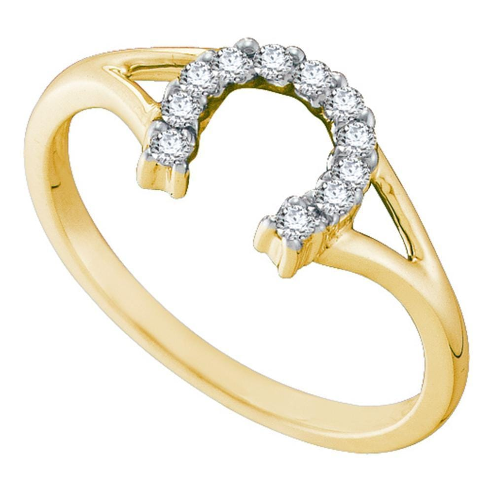 10kt Yellow Gold Womens Round Diamond Lucky Horseshoe Split-shank Ring 1/10 Cttw