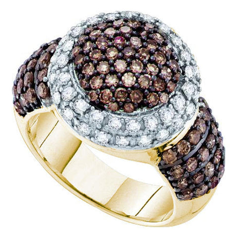 10kt Yellow Gold Womens Round Cognac-brown Color Enhanced Diamond Halo Cluster Ring 2.00 Cttw