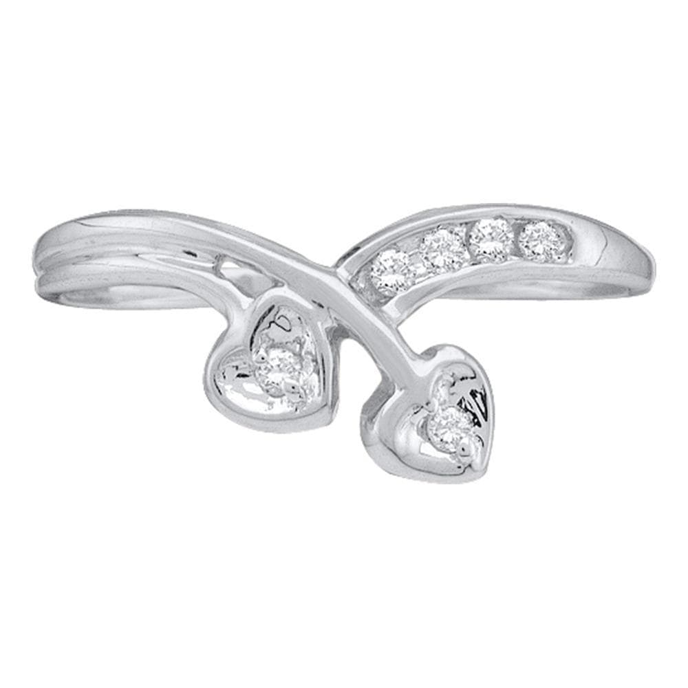 10kt White Gold Womens Round Diamond Double Heart Simple Band Ring 1/20 Cttw