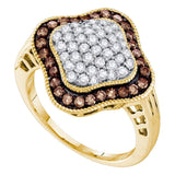 10kt Yellow Gold Womens Round Cognac-brown Color Enhanced Diamond Quatrefoil Cluster Ring 1.00 Cttw