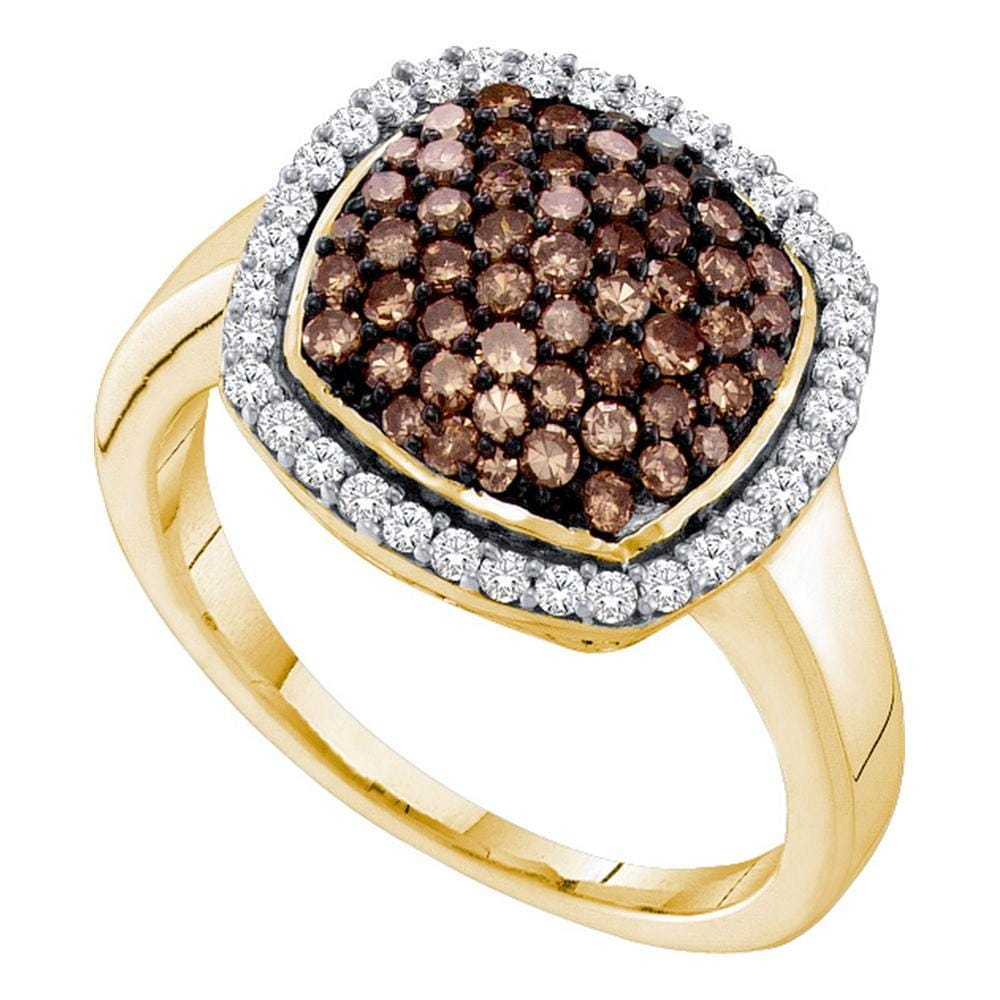 10kt Yellow Gold Womens Round Cognac-brown Color Enhanced Diamond Square Cluster Ring 7/8 Cttw
